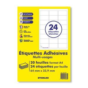 planches de 24 =  étiquettes autocollantes papier adhésif blanc - 63,5 x 33,9 mm - compatible mon timbre en ligne ou FBA AMAZON-  (l7159) TVA DEDUCTIBLE
