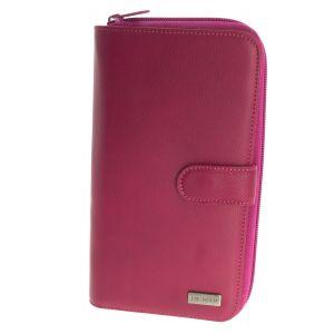 Portefeuille compagnon cuir ELEPHANT D OR - porte cartes monnaie et chéquier - 20 cm X 12 cm couleurs au choix-Rose
