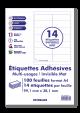 100 Planches A4 - 14 étiquettes 99,1 mm X 38,1 mm autocollantes invisibles mat par planche pour tous types imprimantes - Jet d'encre/laser/photocopieuse