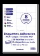 50 planches 8 étiquettes autocollantes blanches 105 x 70mm