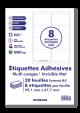 20 Planches A4 - 8 étiquettes 99,1 MM x 67,7 MM autocollantes invisibles mat par planche pour tous types imprimantes - Jet d'encre/laser/photocopieuse