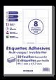 50 Planches A4 - 8 étiquettes 99,1 MM x 67,7 MM autocollantes invisibles mat par planche pour tous types imprimantes - Jet d'encre/laser/photocopieuse